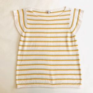 MADEWELL Terry Cloth Striped Flutter Sleeve Top M